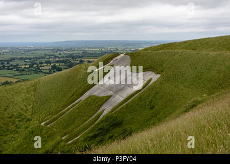 Westbury white horse looking grey and dingy in need of a clean up. - Stock Photo