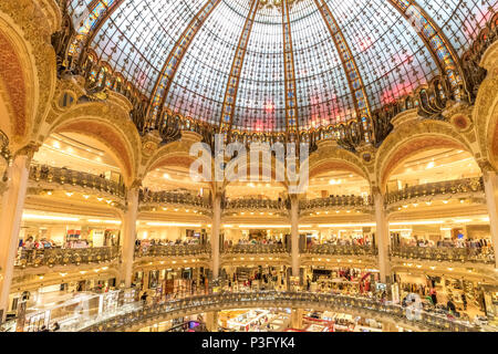 Splendid Interior of  Galeries Lafayette ,an upmarket French department store chain  which is located on Boulevard Haussmann, Paris,France Stock Photo