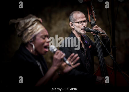 Yan Speake bassist and Ley Adewole lead vocalist of The Grace Notes performing at Trebah Garden amphitheatre in Cornwall. - Stock Photo