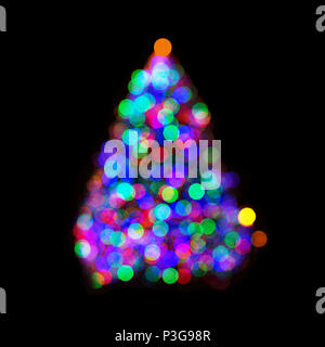 Multicolored christmas tree lights in bokeh, isolated on black - Stock Photo