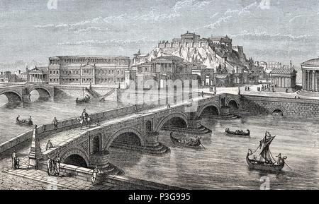 Reconstruction of the Capitoline Hill, Milvian Bridge Rome, Italy - Stock Photo