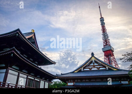 Zojo-ji temple and Tokyo tower at sunset, Japan - Stock Photo
