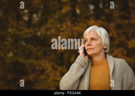 Senior woman using a smart phone in a park - Stock Photo