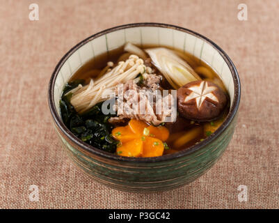 udon noodles with beef - Stock Photo