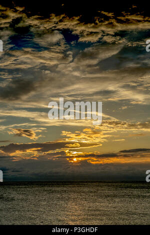 Redington Beach, Florida, USA,  Thursday,  05/10/2017, View, Sunset,  Sun, 'filtering through', 'various cloud formations',  © Peter SPURRIER, - Stock Photo