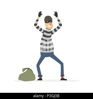 Thief surrendering - cartoon people characters illustration - Stock Photo