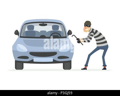 Car thief - cartoon people characters illustration - Stock Photo