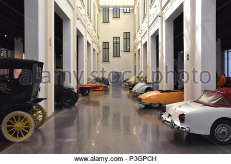 Various car models displayed at Museum of Automobiles (Museo Automovilístico) in Malaga Spain Europe. - Stock Photo