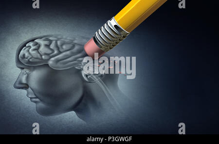 Concept of memory loss and dementia disease and losing brain function memories as an alzheimer health symbol of neurology and mental problems with 3D - Stock Photo