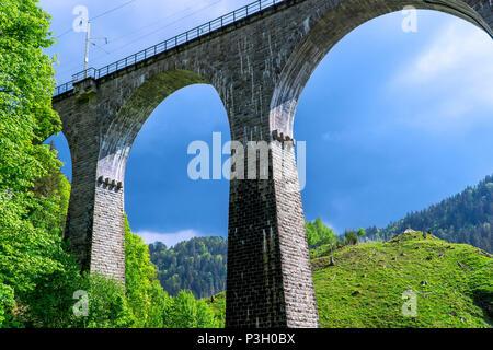 Black Forest Railroad Bridge Landscape at Ravenna Gorge - Stock Photo