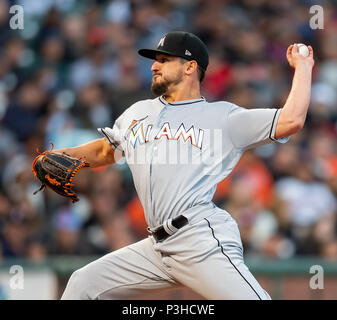 San Francisco, California, USA. 18th June, 2018. Miami Marlins starting pitcher Caleb Smith (31) delivers during a MLB baseball game between the Miami Marlins and the San Francisco Giants at AT&T Park in San Francisco, California. Valerie Shoaps/CSM/Alamy Live News - Stock Photo