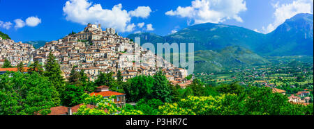 Beautiful Morano Calabro village,panoramic view,Calabria,Italy. - Stock Photo
