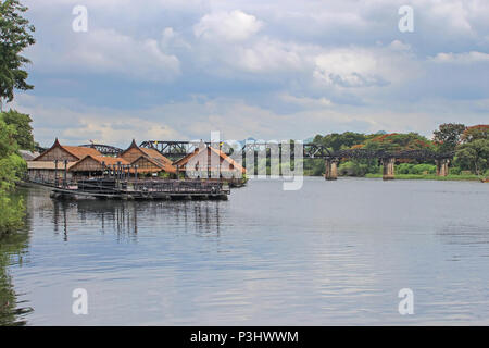 Historical bridge over the river Kwai, the death railway, Kanjanaburi Province, Thailand - Stock Photo