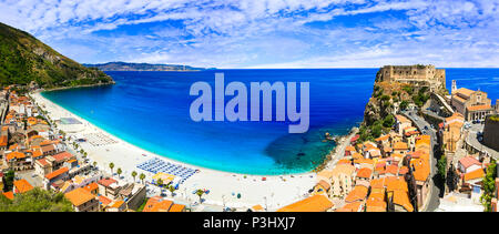 Beautiful Scilla village,view with traditional houses,castle and sea,Calabria,Italy. - Stock Photo