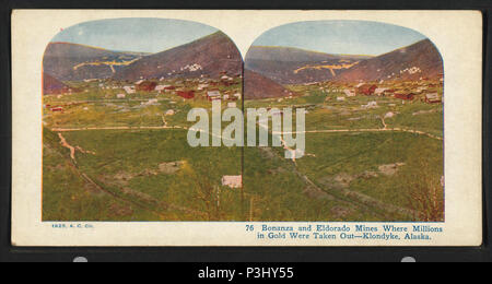 . Bonanza and Eldorado mines, where millions in gold were taken out. Klondyke [Klondike], Alaska. [Contrary to this title, the location is Yukon, Canada] .  Coverage: 1925. Digital item published 8-31-2005; updated 2-12-2009. 39 Bonanza and Eldorado mines, where millions in gold were taken out. Klondyke (Klondike), Alaska, from Robert N. Dennis collection of stereoscopic views - Stock Photo