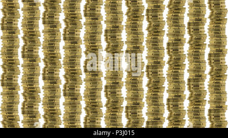 Background filled with a lot of coins in rows. Isolated on a white background. - Stock Photo