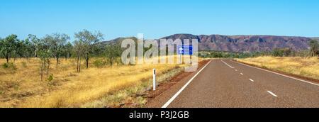 Durack Mountain Ranges and Great Northern Highway Kimberley WA Australia. - Stock Photo