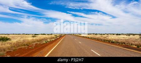 Flat plain along the Great Northern Highway Kimberley WA Australia. - Stock Photo