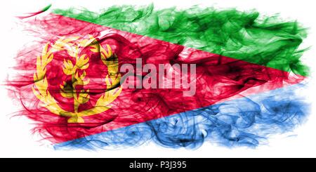 Eritrea smoke flag - Stock Photo