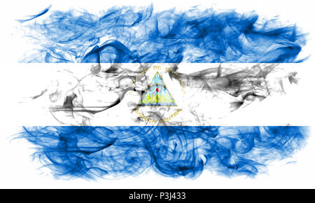 Nicaragua smoke flag - Stock Photo