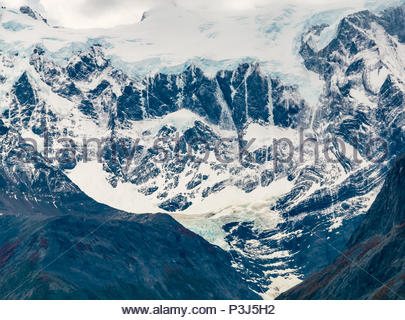 Zoomed view of hanging glacier, Torres del Paine National Park, Patagonia, Chile, South America - Stock Photo