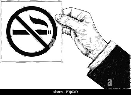 Vector Artistic Drawing Illustration of Hand Holding No Smoking Sign - Stock Photo