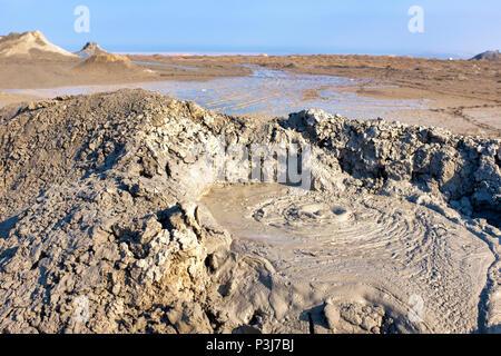 Mud vulcano in Gobustan National Park, Azerbaijan - Stock Photo