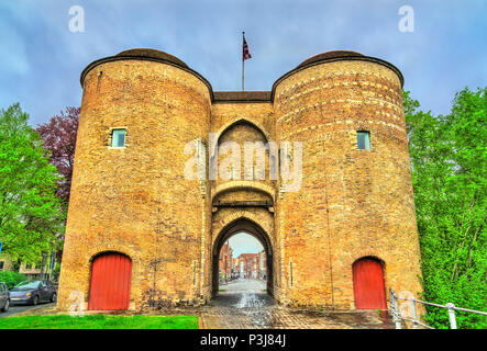 Gentpoort, Ghent's Gate in Bruges, Belgium - Stock Photo