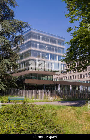Geneva, Switzerland - june 10, 2018 : The new and the old building of the World Trade Organization (WTO) - Stock Photo