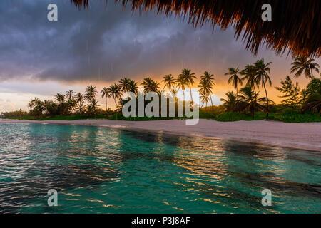 Beautiful view toward tropical beach from wooden water villa, Punta Cana