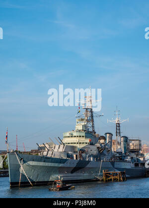HMS Belfast, River Thames, London, England, UK, GB. - Stock Photo