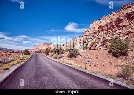 Vintage toned picturesque road in the Capitol Reef National Park, Utah, USA. - Stock Photo