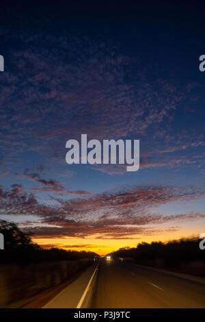 Sunset over the Great Northern Highway Kimberley WA Australia. - Stock Photo