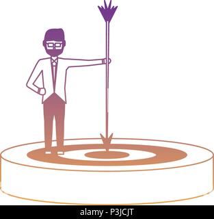 businessman holding a arrow on a target over white background, vector illustration - Stock Photo