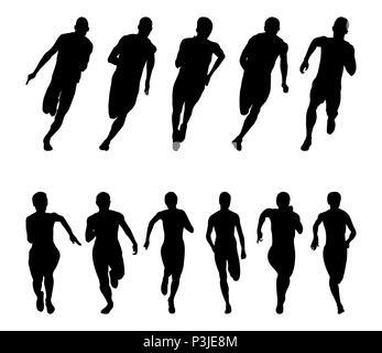 Set runners sprinters men and women black silhouette running group - Stock Photo