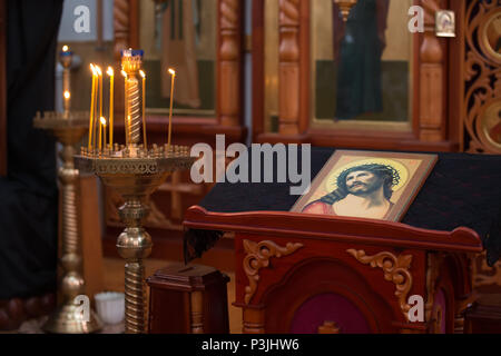 Belarus, Gomel, February 24, 2018. Church of the Birches.Altar in the Orthodox Church with the icon of the Iusus - Stock Photo
