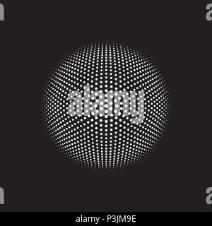 Circular monochrome dot pattern vector with 6 radial axis lines, dots arranged in a mathematical geometic pattern for creative design cover, poster - Stock Photo
