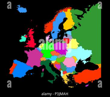 Map of Europe  with country borders isolate on black background - Stock Photo