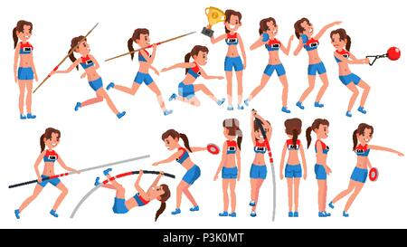 Athletics Girl Player Female Vector. Athletic Sport Competition. Sports Equipment. Sprinter. Sprint Start. Cartoon Athlete Character Illustration - Stock Photo