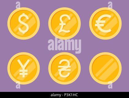 Coins Icons Set. Flat Vector Illustration - Dollar, Euro, Pound, Yen, Hryvna. - Stock Photo
