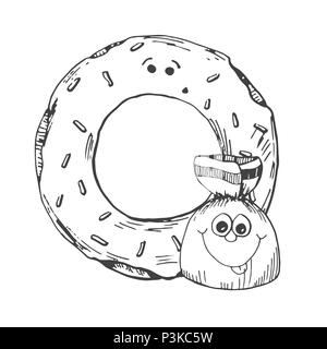 Hand drawn donut and candy in the cartoon style. Vector illustration of a sketch style. - Stock Photo