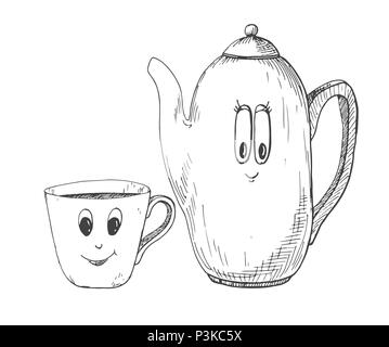 Hand drawn kettle and a mug in the cartoon style. Vector illustration of a sketch style. - Stock Photo