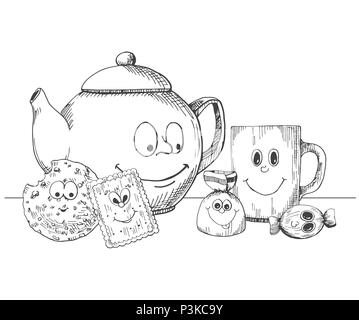 Hand drawn kettle, cup, cookies and candies in a cartoon style. Vector illustration in sketch style - Stock Photo