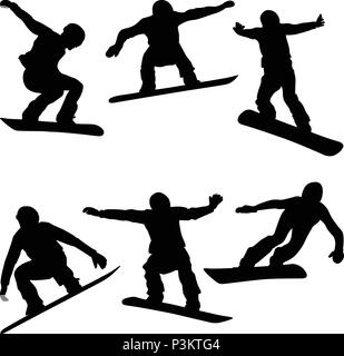 set athletes snowboarders black silhouette snowboard competition - Stock Photo