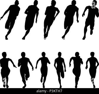 Set runners sprinters men and women black silhouette running group - Stock Photo