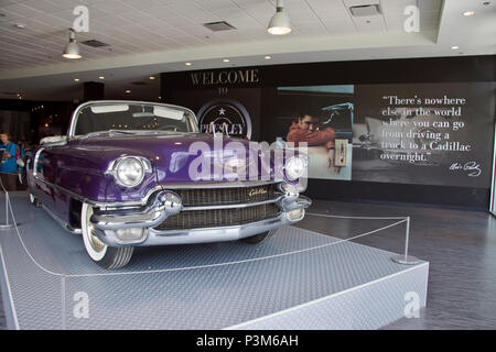 A purple 1956 Eldorado Cadillac owned by Elvis Presley at the Graceland museum, Memphis, Tennessee. - Stock Photo
