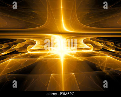 Golden background - abstract computer-generated image. Fractal art - glossy surface with stripes and light effects. For banners, covers, posters. Sci- - Stock Photo