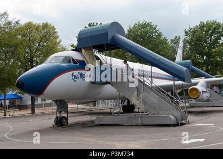 "The ""Lisa Marie,"" a Convair 880 business jet, owned by Elvis Presley at the Graceland museum, Memphis, Tennessee. - Stock Photo"
