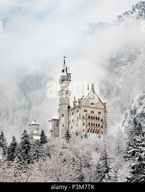 Neuschwanstein Castle in the snow, Schwangau, Bavaria, Germany - Stock Photo