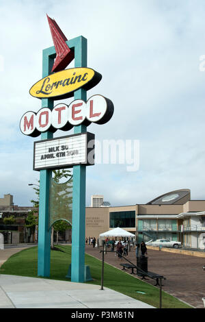Sign of the former Lorraine Motel, where Martin Luther King was assassinated in 1968, now the National Civil Rights Museum, Memphis, Tennessee.
